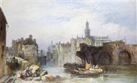 continental town scene by a river (+ continental town scene by a river; pair) by james vivien de fleury