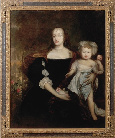 portrait of queen henrietta maria and child by sir anthony van dyck