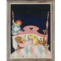 little girl asleep in bed surrounded by winnie-the-pooh and raggedy ann by w. guranowski