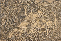 men bringing rice harvest from the fields, another man climbs a coconut tree (+ another (sketch), verso) by i yadi