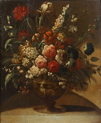 roses, peonies, lilies and other flowers in a bronze urn, on a stone ledge by pieter casteels iii