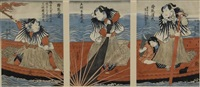 triptych depicting kabuki actors in boat (3 works) by utagawa toyohiro