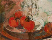 a still life of persimmons (recto); a figure by a fireplace (verso) by frank sydney spears