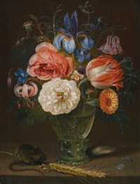 a still life of flowers in a roemer with a field mouse and an ear of wheat by clara peeters