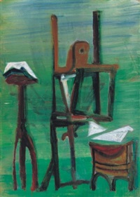green studio with easel by julia vajda