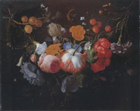 a swag of mixed flowers in a niche by pieter gallis
