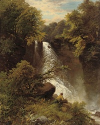 an angler before a waterfall by james burrell smith