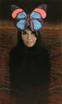 woman with a butterfly by shraga aloni