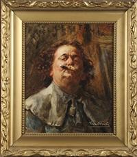défense de fumer (autoportrait) by léon herbo