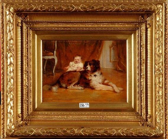 portrait dun bébé accompagné de son chien by rudolf wimmer