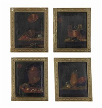 copper vessels, oranges, cherries and vegetables on a wooden table and others (4 works) by johannes cordua