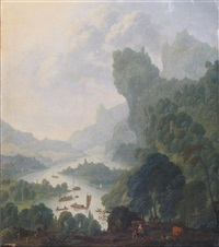 extensive wooded river landscapes, probably on the rhine with numerous boats and travelers in the foreground by wilhelm van swaanenberg