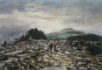 untitled (castell y gwynt, snowdonia with two climbers) by aled prichard-jones