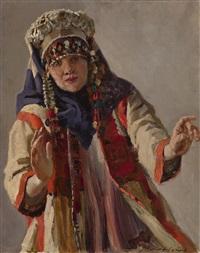 boyar maiden (study for pugachev) by pavel petrovich sokolov-skalua