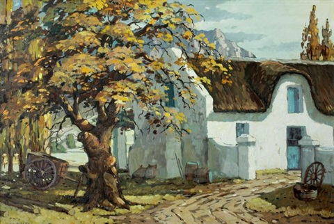 cape farmhouse with wagon by nils severin andersen