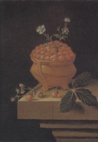 stilleben mit waldbeeren und blüten in einem tongefäss by adriaen s. coorte