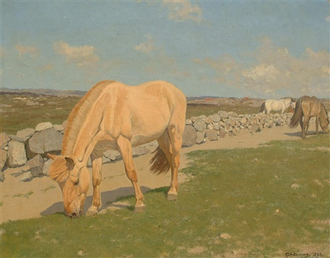 horses grazing in a landscape by stan gustaf herman ankarcrona