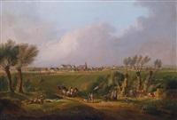 motiv aus dem marchfeld mit dem ort ebenthal im hintergrund (laut derzeitigem besitzer) by conrad bühlmayer