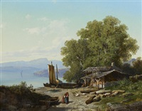 paysage d'un lac en italie by victor-alexandre humbert garnier
