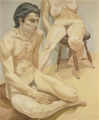 seated male nude and female nude by philip pearlstein