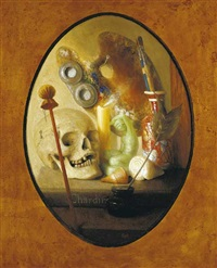 homage to chardin - still life with artist's palette by stuart morle