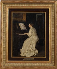 jeune femme au piano by florent willems