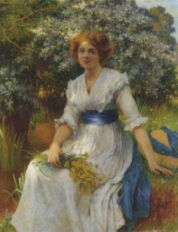 an elegant lady in a garden by w savage cooper