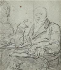 portrait du docteur corvisart (+ etude de main tenant un rouleau, verso) by anicet charles gabriel lemonnier