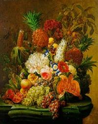 nature morte de fleurs et de fruits sur un entablement de marbre by johannes hendrik fredriks