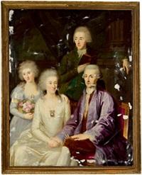 bildnis einer familie, der stehende mann hält ein buch in der hand by ludwig gutenbrunn