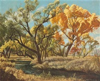 bishop creek; autumn tree near a country road (a pair) by robert clunie