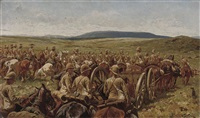the royal horse artillery and mounted infantry crossing the veldt by william barnes wollen