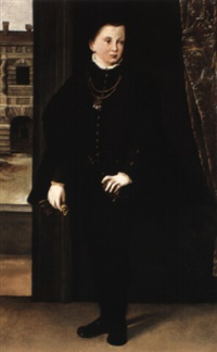 portrait francesco iii gonzaga, duke of mantua, standing near open door by ippolito andreasi
