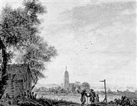 an extensiver landscape with a square-towered church, surveyed by a group of travellers by pieter jan van liender