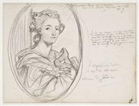 portrait en médaillon du buste d'alexandrine fanier (study) by gustave moreau