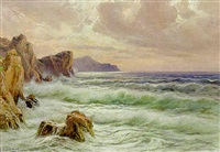 waves breaking along the coast, capri by michele frederico
