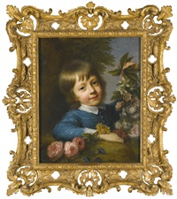 portrait of master muspratt williams composing a garland by nathaniel hone the elder