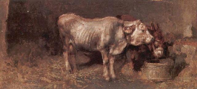 Le pietre di Plouhinec Tito-pellicciotti-interno-di-stalla-con-mucca-e-asinello