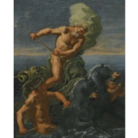 neptune riding his chariot of horses by domenico antonio vaccaro