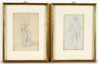 studienblätter männlicher ganzfigurenportraits: jägerdarstellungen u.a. (5 works) by anton burger