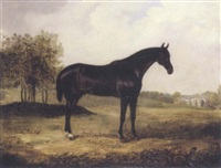 bay horse in a landscape by henry calvert