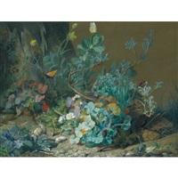 fleurs, papillon et escargot by jean marie reignier