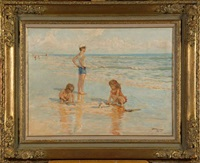 enfants jouant à la plage by charles garabed atamian