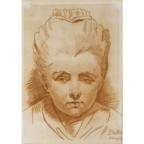 bust length portrait of a young girl by pierre alexandre wille