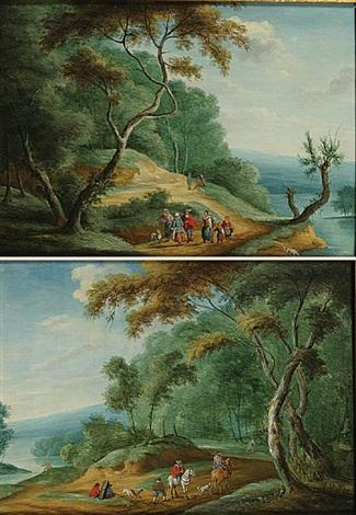 gezelschap in een bosrijke omgeving 2 works by isaac van oosten