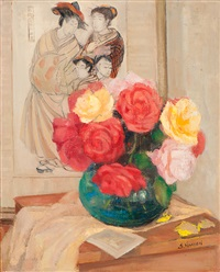 still life with roses in a vase and japanese print by isaac j. naarden