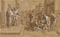 a classical scene with a man casting a woman from his home by nicolas poussin