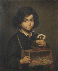 a boy with a guinea pig on it's cage by wally (walburga wilhelmina) moes