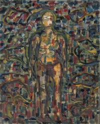 standing figure (+ blue and yellow abstract; 2 works) by oliver gollancz