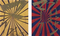 untitled (scarlet lake and indigo blue butterfly 826); untitled (canary yellow and black butterfly 830) (2 works) by mark grotjahn and takashi murakami